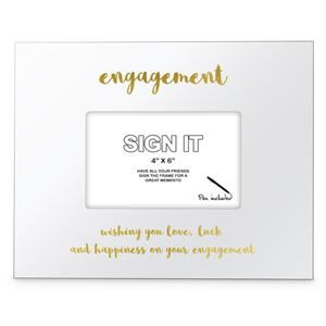 We Like To Party Engagement Gold Signature Photo Frame with Marker