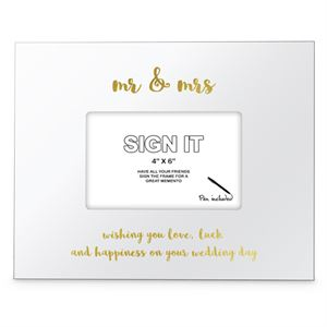 We Like To Party Mr and Mrs Signature Photo Frame with Marker Pen