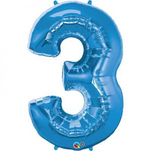 We Like To Party Megaloon Number 3 Blue Balloon