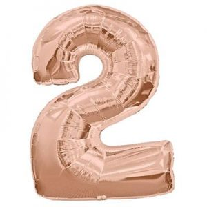 We Like To Party Megaloon Number 2 Rose Gold Balloon