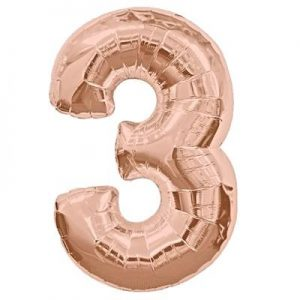 We Like To Party Megaloon Number 3 Rose Gold Balloon