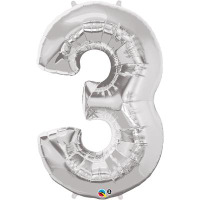 We Like To Party Megaloon Number 3 Silver Balloon