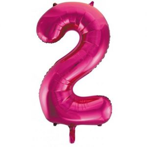 We Like To Party Megaloon Number 2 Hot Pink Balloon