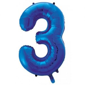 We Like To Party Megaloon Number 3 Dark Blue Balloon