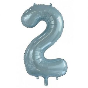 We Like To Party Megaloon Number 2 Light Blue Balloon