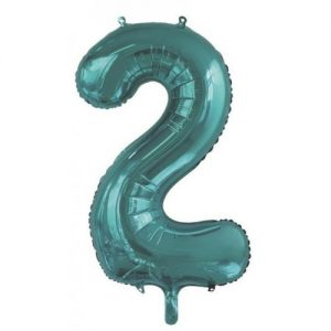 We Like To Party Megaloon Number 2 Teal Balloon