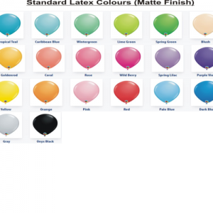We Like To Party Standard Latex Balloon Colour Chart
