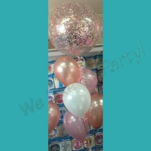 We Like To Party custom large confetti and plain coloured balloon bouquet