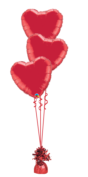 We Like To Party 3 Red Love Heart Balloon Bouquet