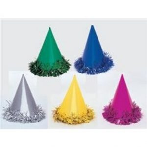 We Like To Party Metallic Foil Party Hats with Tinsel Trim 6pk