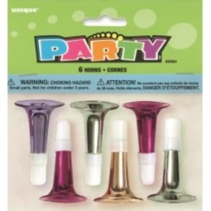 We Like To Party Metallic Horns various colours 6pk