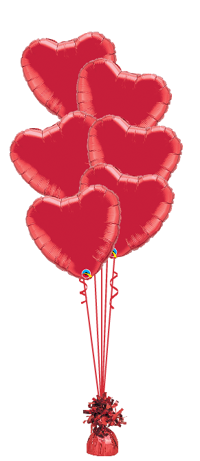 We Like To Party 6 Red Foil Love Heart Balloon Bouquet