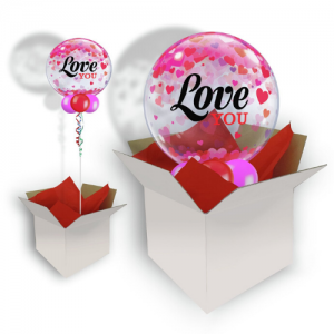 We Like To Party Love you Confetti Hearts Bubble Balloon In A Box