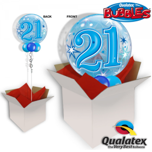 We Like to Party 21st Birthday Blue Bubble Balloon In A Box