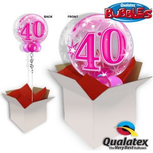 We Like To Party 40th Birthday Pink Bubble Balloon In A Box