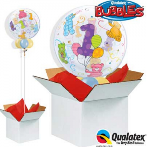 We Like to Party Age 1 Teddy Bears Bubble Balloon In A Box
