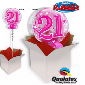 We Like To Party 21st Birthday Pink Bubble Balloon In A Box