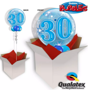 We Like To Party 30th Birthday Blue Bubble Balloon In A Box