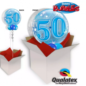 We Like To Party 50th Birthday Blue Bubble Balloon In A Box