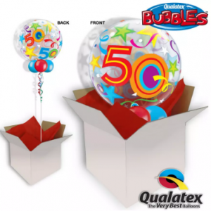 We Like To Party 50th Birthday Multicolour Bubble Balloon In A Box