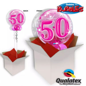 We Like To Party 50th Birthday Pink Bubble Balloon In A Box