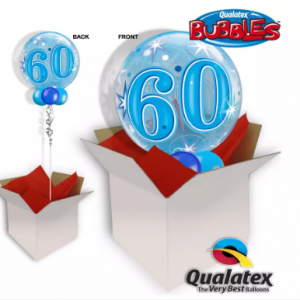 We Like To Party 60th Birthday Blue Bubble Balloon In A Box