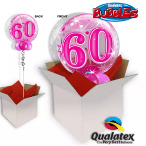 We Like To Party 60th Birthday Pink Bubble Balloon In A Box