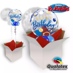 We Like To Party Birthday Blue & Gold Dots Bubble Balloon In A Box