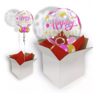 We Like To Party Birthday Pink & Gold Dots Bubble Balloon In A Box