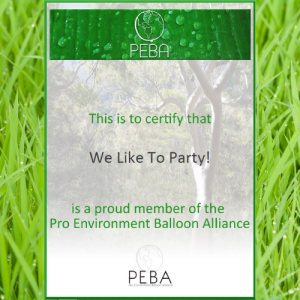 We Like To Party PEBA Membership Certificate