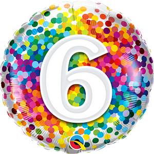We Like To Party Rainbow Confetti Number Six 18″ (45cm) Foil Balloon