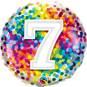 We Like To Party Rainbow Confetti Number Seven 18″ (45cm) Foil Balloon