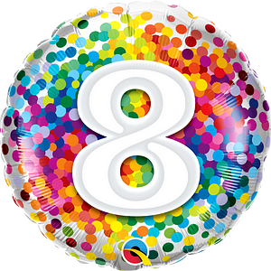 We Like To Party Rainbow Confetti Number Eight 18″ (45cm) Foil Balloon
