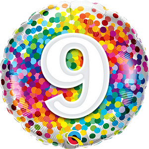 """We Like To Party Rainbow Confetti Number Nine 18"""" (45cm) Foil Balloon"""
