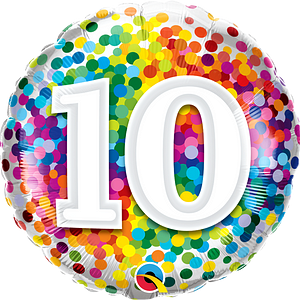 We Like To Party Rainbow Confetti Number Ten 18″ (45cm) Foil Balloon