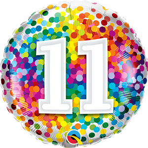 We Like To Party Rainbow Confetti Number Eleven 18″ (45cm) Foil Balloon
