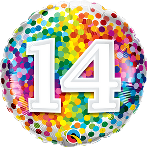 We Like To Party Rainbow Confetti Number Fourteen 18″ (45cm) Foil Balloon