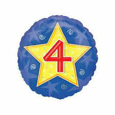 """We Like To Party Happy 4th Yellow Star Birthday 18"""" (45cm) Foil Balloon"""