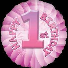 We Like To Party Baby's 1st Birthday Pink 18″ (45cm) Helium Foil Balloon