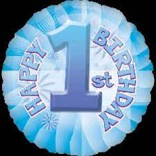 We Like To Party Baby's 1st Birthday Blue 18″ (45cm) Helium Foil Balloon