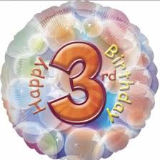 We Like To Party Happy 3rd Birthday 18″ (45cm) Foil Balloon