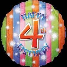 We Like To Party Happy 4th Birthday 18″ (45cm) Foil Balloon