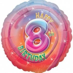 We Like To Party Happy 8th Birthday 18″ (45cm) Foil Balloon