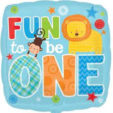 We Like To Party Fun To Be One Birthday Boy 18″ (45cm) Foil Balloon