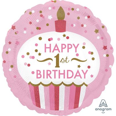 We Like To Party 1st Birthday Girl Cupcake 18″ (45cm) Foil Balloon