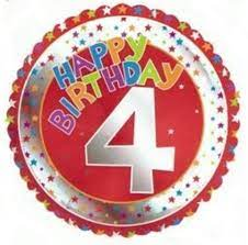 We Like To Party 4th Birthday Red and Silver 18″ (45cm) Foil Balloon