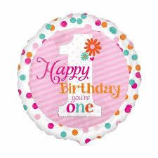 We Like To Party Happy Birthday You're One Girl 18″ (45cm) Foil Balloon