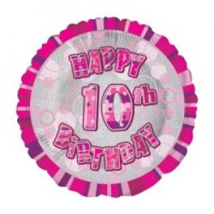 We Like To Party Happy 10th Birthday Glitz Pink 18″ (45cm) Foil Balloon