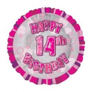 We Like To Party Happy 14th Birthday Glitz Pink 18″ (45cm) Foil Balloon