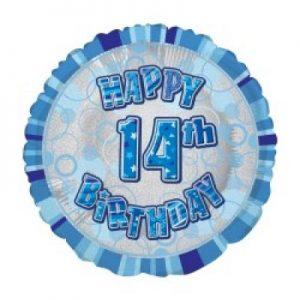We Like To Party Happy 14th Birthday Glitz Blue 18″ (45cm) Foil Balloon